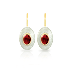 """Surfboard Earrings Garnet with Solid Silver """"Surfboard"""" and Gold trim by Scarab Jewellery Studio"""