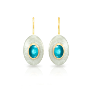 """Surfboard Earrings Swiss Blue Topaz with Solid Silver """"Surfboard"""" and Gold trim by Scarab Jewellery Studio"""