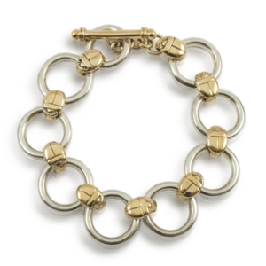 Scarab Circle Bracelet in Silver and Gold