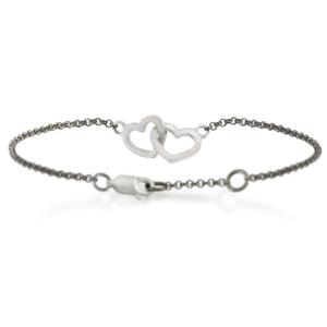 Two Hearts Bracelet in silver by Scarab Jewellery Studio