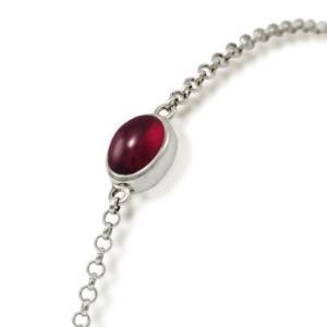 close up of Garnet Cabochon Bracelet - silver - by Scarab Jewellery Studio