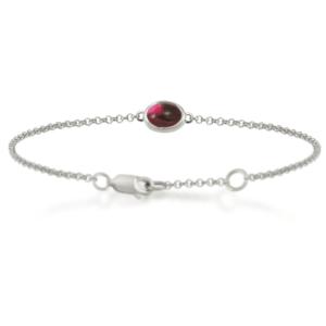 Garnet Cabochon Bracelet - silver - by Scarab Jewellery Studio