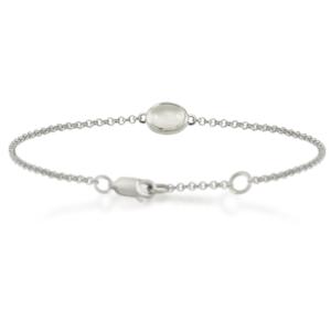 Moonstone Cabochon Bracelet - silver - by Scarab Jewellery Studio