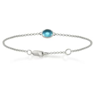 Swiss Blue Topaz Cabochon Bracelet - silver - by Scarab Jewellery Studio