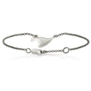 Solid Silver Heart Bracelet with Seed Pearl by Scarab Jewellery Studio