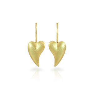 Bewitched gold heart earrings in 9 carat yellow gold by Scarab Jewellery Studio
