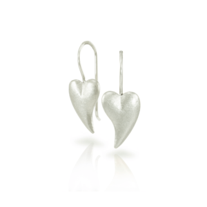 A pair of Bewitched silver heart earrings by Scarab Jewellery Studio - online jewellery