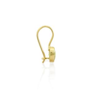 Side View of Peridot Heart Earring set in Gold by Scarab Jewellery Studio