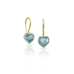 Pair of Swiss Blue Topaz heart earrings in silver and gold by Scarab Jewellery Studio