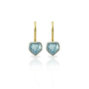 Swiss Blue Topaz heart earrings in silver and gold by Scarab Jewellery Studio