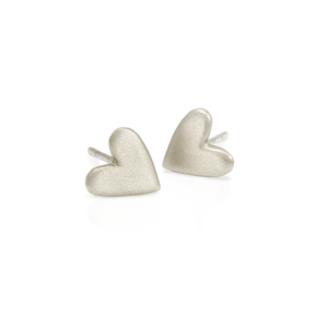 Tiny Valentine Hearts Earrings Silver by Scarab Jewellery Studio