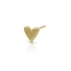 3 quarter view of single Tiny Valentine Hearts Earrings Gold by Scarab Jewellery Studio