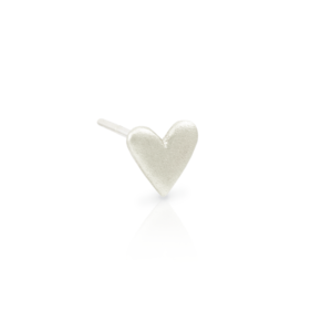 3 quarter view of single Tiny Valentine Hearts Earrings Silver by Scarab Jewellery Studio