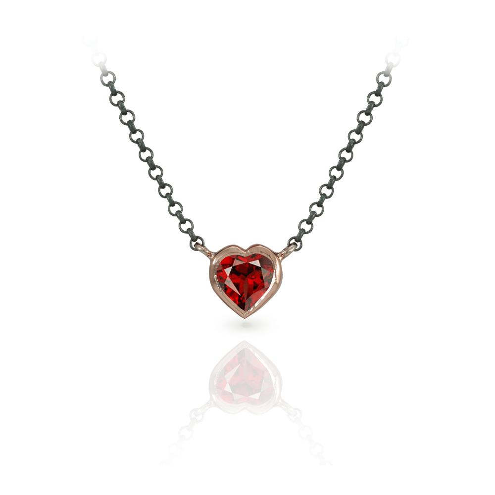 Garnet heart necklace scarab jewellery garnet heart necklace set in rose gold with blackened silver chain by scarab jewellery studio aloadofball Gallery
