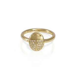 RG100 Scarab Ring with Diamonds in Yellow Gold and pave diamond wings by Scarab Jewellery Studio