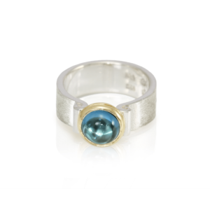 RG32 London Blue Topaz Greek Scroll Ring in silver with yellow gold setting by Scarab Jewellery Studio