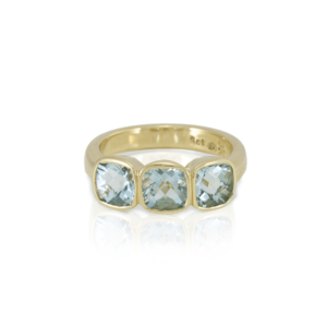 RG64 Three Stone Aquamarine ring in yellow gold by Scarab Jewellery Studio
