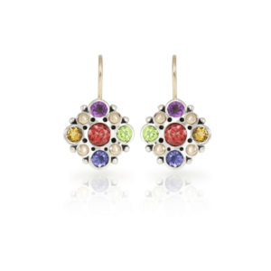 Victorian earrings in silver and yellow gold with gemstone mix