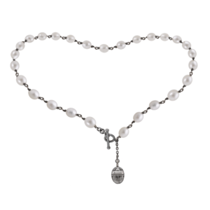 white pearl choker necklace by Scarab Jewellery Studio