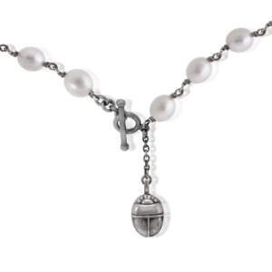 white pearl choker necklace close up of scarab fob detail by Scarab Jewellery Studio
