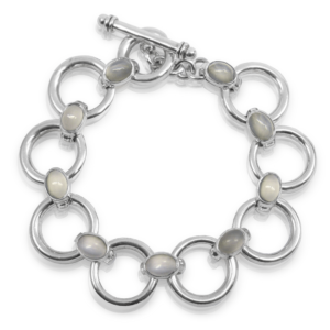 Moonstone Circle Bracelet with Moonstone cabouchon links by Scarab Jewellery Studio