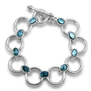 Swiss Blue Topaz Circle Bracelet with Swiss Blue Topaz cabouchon links by Scarab Jewellery Studio