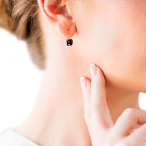 Silver Gold Garnet Earrings by Scarab Jewellery Studio