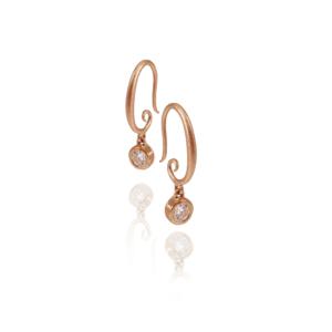 Spiral Hoop Diamond Drop Earrings by Scarab Jewellery Studio