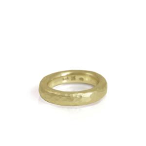 narrow beaten gold band by Scarab Jewellery Studio
