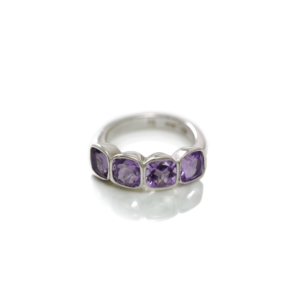 Four Stone Amethyst Silver Ring by Scarab Jewellery Studio - February Birthstone Jewelry