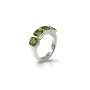 Four Stone Peridot Silver Ring by Scarab Jewellery Studio