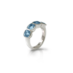 Four Stone Blue Topaz Silver Ring by Scarab Jewellery Studio