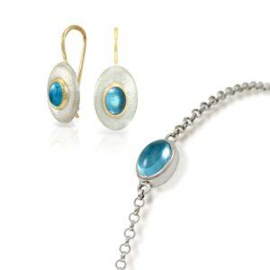Earrings Blue Topaz Silver Bracelet bundle by Scarab Jewellery Studio