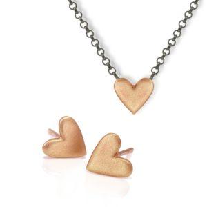 Earrings Red Gold Heart Pendant bundle by Scarab Jewellery Studio