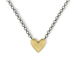 Yellow Gold Heart Necklace with integrated blackened silver chain by Scarab Jewellery Studio