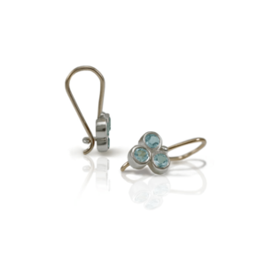 Three Stone Grape Earrings Blue Topaz by Scarab Jewellery Studio