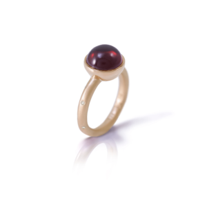 garnet diamond ring red gold by Scarab Jewellery Studio
