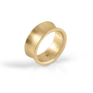 Yellow Gold Concave Band by Scarab Jewellery Studio