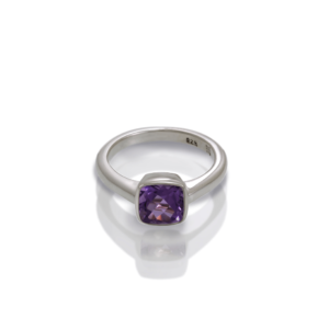 """One"" silver ring amethyst by Scarab Jewellery Studio"
