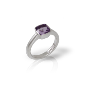 """One"" silver ring amethyst by Scarab Jewellery Studio - February Birthstone Jewelry"