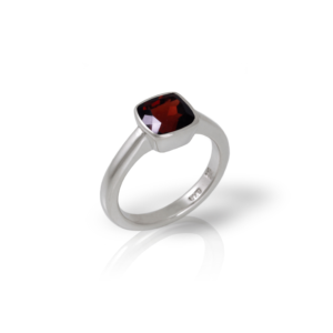 """One"" silver ring garnet by Scarab Jewellery Studio"