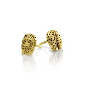 Gold African Leopard Earrings by Scarab Jewellery Studio