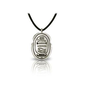 Large Alexandria Egyptian Scarab Silver Pendant back by Scarab Jewellery Studio