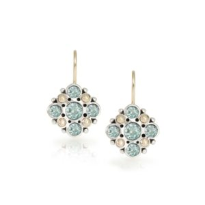 Victorian earrings blue topaz set in Silver with yellow gold beads by Scarab Jewellery Studio London