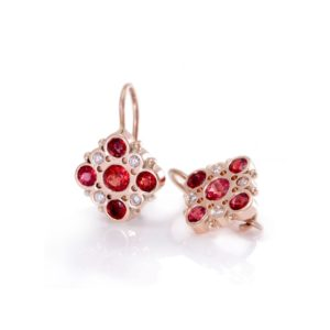 Victorian earrings Red Sapphires Diamonds set in Red Gold by Scarab Jewellery Studio London