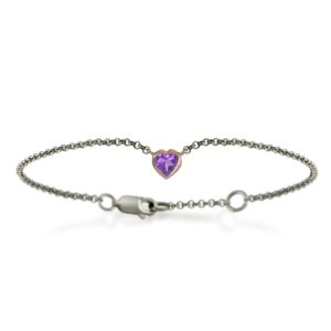 Silver 9ct red gold amethyst heart bracelet by Scarab Jewellery Studio - February Birthstone Jewelry