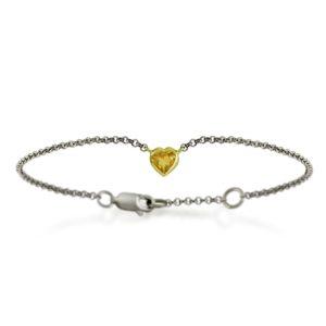 Silver 9ct yellow gold citrine heart bracelet by Scarab Jewellery Studio