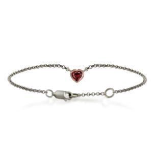 Silver 9ct red gold garnet heart bracelet by Scarab Jewellery Studio