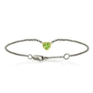 Silver 9ct yellow gold peridot heart bracelet by Scarab Jewellery Studio