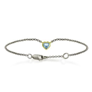 Silver 9ct yellow gold sky blue topaz heart bracelet by Scarab Jewellery Studio
